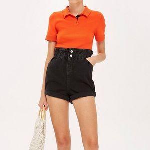 NWT TOPSHOP Paperbag Denim Shorts Washed Black 2